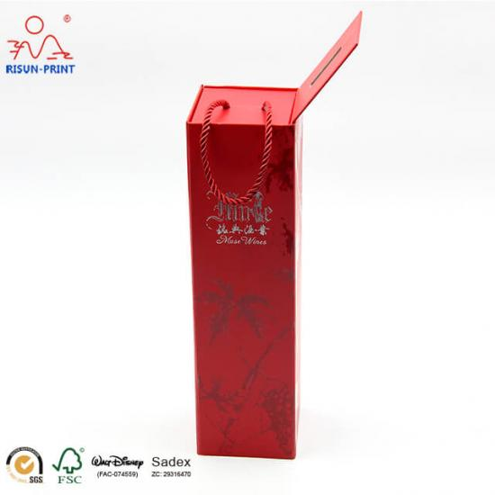 Foldable Metallic Paper Wine Boxes
