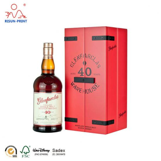 Glenfarclas Whisky red wooden Wine box